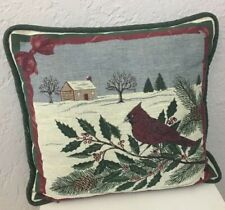 Tapestry Bird Pillow Cardinal Berries Snow Christmas Holiday Decor Country Home