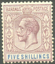 Bahamas 1921 KGV 5 shillings  Dull Purple & Blue SG124 Mint Hinged