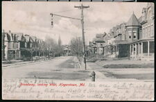 HAGERSTOWN MD Broadway Looking East Antique Town View Postcard Vtg Rotograph PC