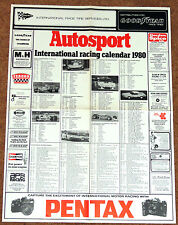 Autosport 1980 INTERNATIONAL RACING CALENDAR - F1 F2 F3 WCM Touring Cars AFX F1