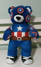 BUILD A BEAR CAPTAIN AMERICA  BLUE TEDDY BEAR SHIELD DESIGN IN FUR 45CM