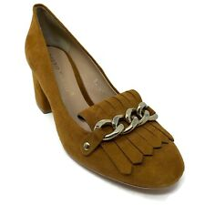Bruno Premi Brown Suede Block Heel Pump Shoes Kiltie Size 36 US 5.5 UK 3.5