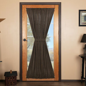 VHC Kettle Grove Black Tan Plaid Lined Cotton Country Gathered French Door Panel