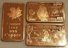 Beautiful Rare High Quality 999 Fine 3 x Troy OZ Copper Art Bars USA