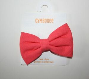 New Gymboree Girls Pink Coral Ribbon Bow Hair Accessory Barrette Cherry Blossom