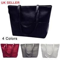 UK Large Women's Designer Leather Style Tote Shoulder Bag Satchel Ladies Handbag