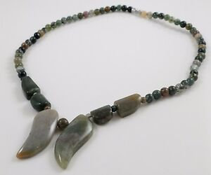 Multi-coloured Natural Indian Agate Beaded Necklace Screw Clasp 18''