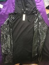 River Island Black Hooded jumper with PU Sleeves - Size 12