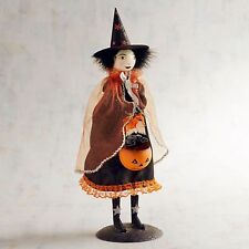"""Halloween Metal Glitter Young Witch Sculpture Figurine NWT 16"""" Pier 1 NWT"""