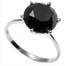 3 CWT BLACK DIAMOND SOLITAIRE RING 10 K WHITE GOLD ENGAGEMENT EARTH MINED STONE