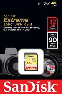 32GB SD Sandisk Memory Card For DSLR Digital Camera Class 10 U3 SDHC 4K