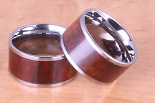 12mm tungsten koa wood ring, flat style and comfort fit