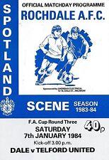 Football Programme>ROCHDALE v TELFORD UNITED Jan 1984 FAC
