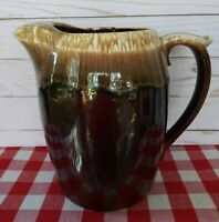"Vintage Nelson McCoy Brown Drip Glaze Pitcher w/Ice Lip #7011 USA 8 1/4"" Tall"