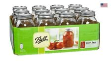 Ball Regular Mouth Quart Canning Mason Jars Lids, Bands Clear Glass 32Oz 12-Pack