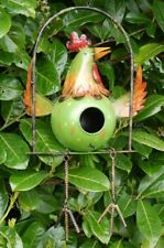 Quirky Bright Colourful Large Metal Hanging Bird on a Swing Bird House Garden