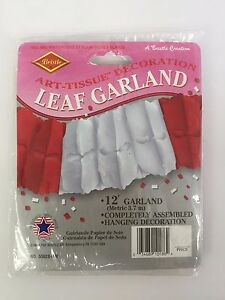 Beistle 12ft Leaf Garland Red & White Valentines Day Art Tissue Decoration NIP