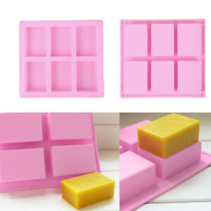 6-Grid Silicone Handmade Soap Rectangular Molds DIY Candle Soaps Making Mould