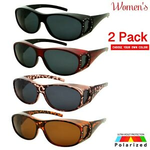 2 PACK Womens Polarized Rhinestone Cover Put Over Sunglasses Rx Driving Large