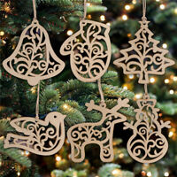 6Pcs Wood deer snowman Christmas Pendants Ornaments Xmas Tree decorations