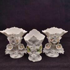 More details for 3 antique old paris vieux porcelain vases wedding church flower vase france