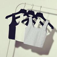 Womens Scoop Neck Crop Belly Top Vest Sleeveless Shirt Blouse Tank
