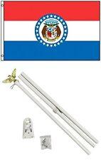 2x3 2'x3' State of Missouri Flag White Pole Kit Set