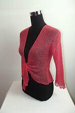 New Bali Shrug Bolero Cardigan Wrap up Fine knit / Mesh CORAL UK size 8-18 SHRUG