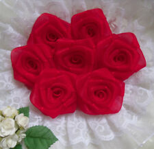 "1.5"" Red Organza Ribbon Roses Flowers/ Appliques/ Christmas -Lots 24 Pcs(R0084R)"