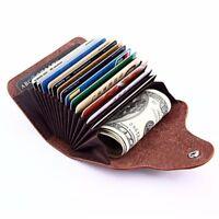Usdeful Credit Card Case Fashion Leather Aluminum Wallet RFID Blocking Pocket