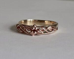 Welsh Cymru Y Metel 9ct Gold Tree Of Life Yellow & Rose Gold Band Ring Size N