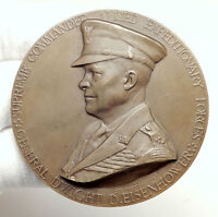 1945 BELGIUM Belgian Award Winner - HUGE 7cm Medal US GENERAL EISENHOWER i75124