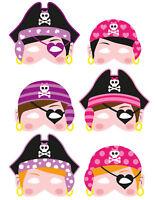 6 Foam Girl Pirate Masks - Pinata Toy Loot/Party Bag Fillers Wedding/Kids Pink