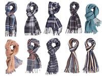 Mens Check Striped Scarf Tartan Soft Winter Warm Wooly Tassel Classic Designs