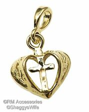 Cross in Heart Charm / Pendant EP Gold Plated with a Lifetime Guarantee!