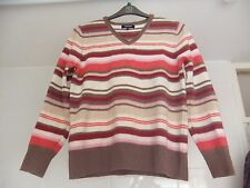 Tulchan Jumper Lambswool Striped With Button Design To The Sleeves Size M/L