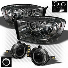 For Smoked 06-08 Dodge Ram Pro LED Headlights+Halo Projector Fog Lamp+Bulb