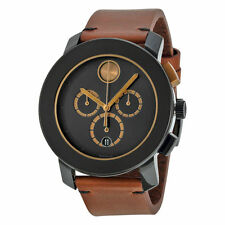 New Movado Bold Chronograph Black Dial Cognac Leather Strap Mens Watch 3600348