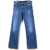 SILVER ZAC Men's Relaxed Fit Straight Leg Med Blue Rinse Size 30 x 32 Zip Fly