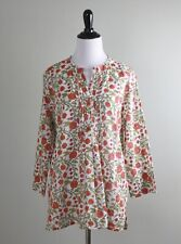 ROBERTA ROLLER RABBIT $138 Darling Floral Tuxedo Pleated Tunic Top Size Medium