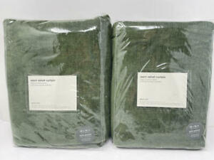 New~Set of 2~West Elm Worn Velvet Curtains~Tarragon Green~48x96