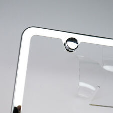 Slim License Plate Cover Frame Holder 2 Hole Stainless Steel Polish Mirror w/Cap