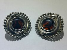 Vintage Tiger Eye Stone and Silver Tone Earrings