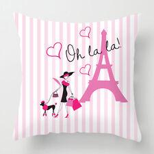 Pink stripe Paris decorative cushion