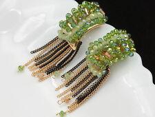 tassels gold stud earrings F97 Rhinestones handcraft spring green crystal beads