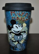 NEW DISNEY TRAVEL MUG BMickey Mouse  DOUBLE WALL PORCELAINE  LID