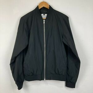 Topman Mens Bomber Jacket Size S Small Black Long Sleeve Zip V-Neck