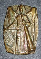 Bronze Reliefbild -Engel mit Horn- ca. 60er Jahre