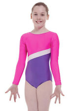 SALE GYMNASTIC ACRO LEOTARD GIRLS LONG SLEEVE T&P 11-12 yrs  MADE IN UK