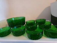 Vintage Retro Arcoroc Emerald Green Diamant Trifle/Fruit Bowl and 8 Dishes 60's